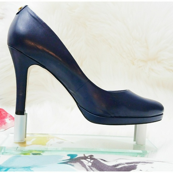 Navy Blue Leather Heels
